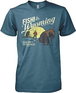 Dead Drift Fly Retro Buffalo Fish Wyoming Fly Fishing T-Shirt