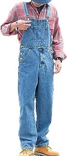 keepwo Men's Denim Work Bib Mens Cargo Loose Fit Adjustable Dungarees Multiple Pockets Chic Overalls Rompers