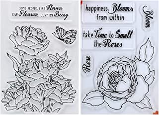 Kwan Crafts 2 Sheets Different Style Flowers Butterfly Bloom Rose Clear Stamps for Card Making Decoration and DIY Scrapbooking