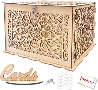 Hokic DIY Wedding Card Box with Lock Large Rustic Wood Wedding Gift Box Money Box for Rustic Wedding Bridal Baby Shower Birthday Rainforest Theme
