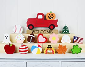 Winder Red Truck Decor Home Welcome Sign 2-Side Wood Block Seasonal Cutout Set Tabletop with Interchangeable 16-PC Icons f...