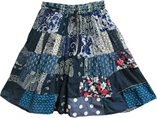 Indian Bohemian Gypsy Vintage Ethnic Patchwork Cotton Mini/Mid-Length Skirt