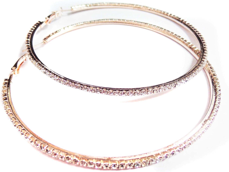 Rose Gold Clear Rhinestone Hoop Earrings 4 inch Hoop Earrings Plated