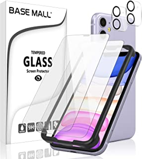 [4 Pack] iPhone 11 (6.1inch) 2 Pack Screen Protector + 2 Pack Camera Lens Protector, BASE MALL 9H Tempered Glass with [Eas...