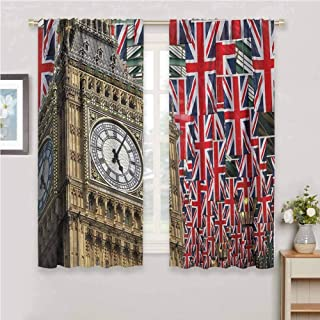 Jinguizi Union Jack Wall Curtain UK Flags Background with Big Ben Festive Celebrations Loyalty Room Darkening Curtains for Bedroom Pale Coffee Navy Blue Red 72 x 45 inch