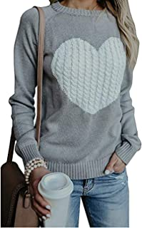 shermie Women's Pullover Sweaters Long Sleeve Crewneck Cute Heart Knitted Sweaters