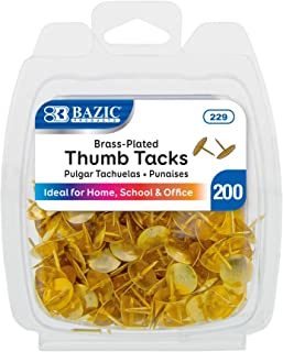 BAZIC Gold Metallic Push Pins Thumb Tacks, 3/8 Inch Flat Head Steel Metal Push Pin Thumbtack Sharp Points for Cork Bulletin Board Posters Craft Picture Office Home School (200/Pack)