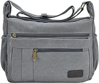 Light Weight Canvas Shoulder Bag for Women Messenger Handbags Cross Body Multi Zipper Pockets Bag
