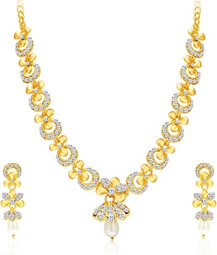 Glittery Gold Plated Wedding Jewellery Austrian Diamond Necklace Set For Women 2559NADP550