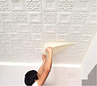 HSE 3D Foam Ceiling Wall Paper self-Adhesive Wall Stickers for Home Decor,Walls, Dining Room, Kitchen, Living Room (36, Wh...