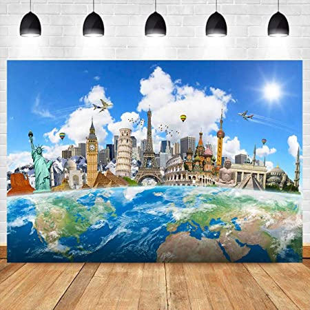World Map on Wooden Rustic Planks Abstract Countries in Vibrant Colors Background for Child Baby Shower Photo Vinyl Studio Prop Photobooth Photoshoot Floral World Map 10x15 FT Photography Backdrop