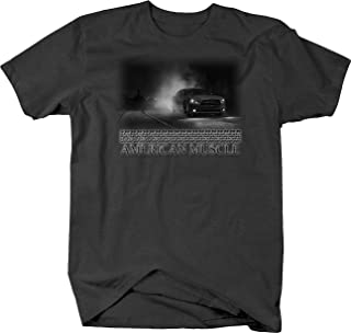 Retro American Muscle Hotrod Challenger Burnout at Night City T Shirt for Men