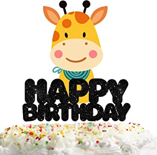 Giraffe Happy Birthday Cake Topper Decorations with Multicolored Animal for Birthday Theme Baby Shower Party Decor Supplies