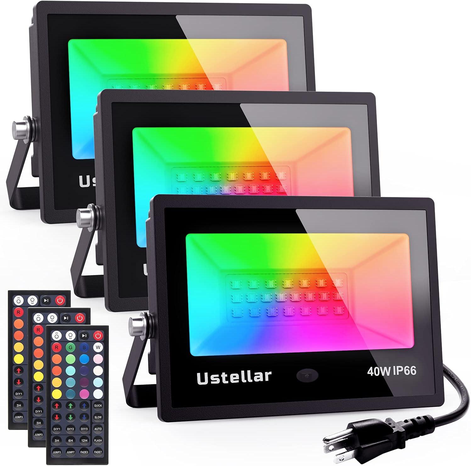 Ustellar 3 Pack 40w RGB Lights Max 68% OFF Decoratio Flood Outdoor Luxury goods Halloween