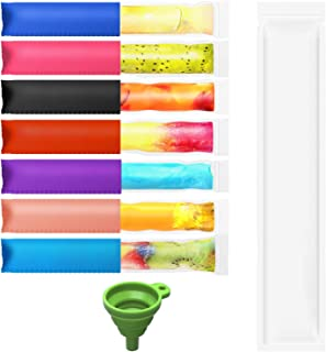 50 PCS Disposable Ice Popsicle Mold Bags, Popsicle Holder bags, 7 colors Ice Pop Sleeves, 1 X Funnel (for kids Handmade, D...