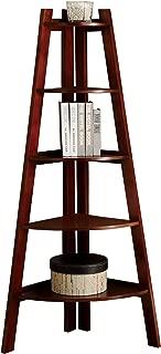 Furniture of America Andrea Corner Bookcase, Cherry