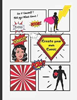 Create Your Own Comic: Blank Comic Book, 100 pgs. 8.5 x 11 inches, Draw your own Comics, Anime. Variety of Templates. For ...