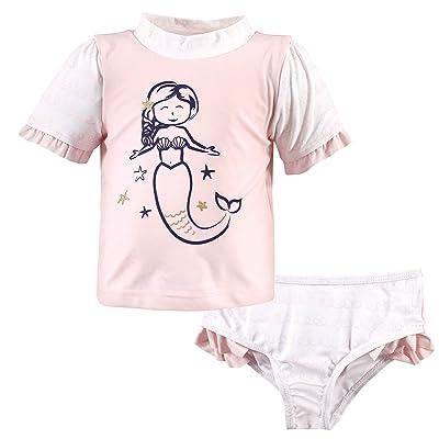 Hudson Baby Hudson Baby Unisex Baby Swim Rashguard Set, Pink Mermaid, 4 Toddler