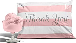 10x13 Pack of 100 Bubble Gum Reusable Poly Mailers Eco-Friendly Pink Thank You Double Seal Pull Tab Designer Boutique Poly a la Mode