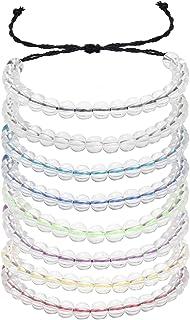 LOLIAS 8 Pcs Transparent Glass Bead Ocean Bracelets Adjustable Handmade Weaving Rope Friendship Jewelry Unisex