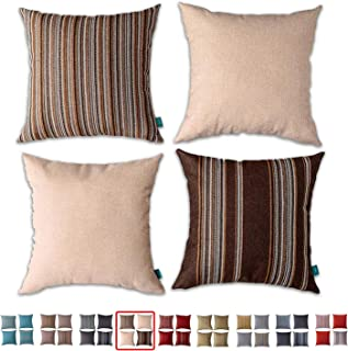 """HPUK Set of 4, Decorative Pillow Cover, Stripe and Solid Color Pillowcase for Couch, Sofa, Bedroom, Car, Office, Holiday Decor,17""""x17, Chocolate"""