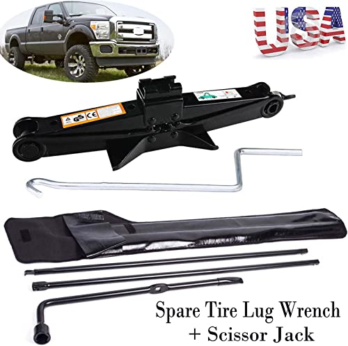 high quality 2T Scissor Jack + Tire Lug 2021 Wrench Spare Tire Tool Kit For Ford popular 03-2007 F250 F350 F450 F550 Super Duty outlet sale