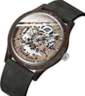 Bestn Men Watches, Wood Case Casual Lumious Automatic Mechanical Skeleton Wrist-Watch Genuine Leather Band (Silver Gray)