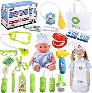 Joyjoz Juegos de Médicos Juguete Doctora Maletín Médico Incluye Baby Doll, Juego de Roles Médico, Regalos de San Valentín para Niños Niñas 3 4 5 años