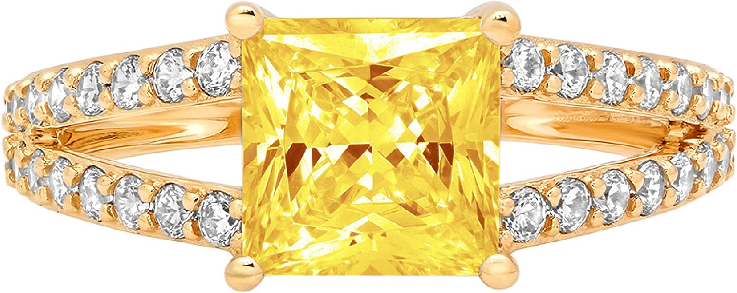 2.42 ct Princess Cut Solitaire with Max 52% OFF Inexpensive shank Accent Ye Canary split
