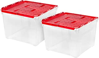 IRIS USA, Inc. WL-60 Holiday Wing-Lid Box with Ornament Dividers, 60 Qt, 2 Pack, Red, 2 Count