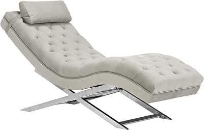 Safavieh Home Collection Monroe Grey Velvet and Chrome Chaise with Headrest Pillow