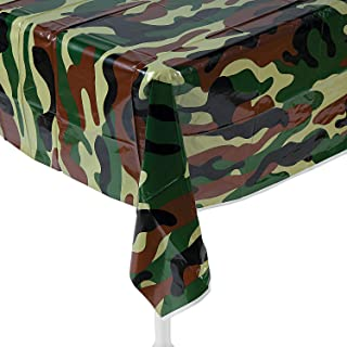 Fun Express Camouflage Plastic Tablecover Camo Tablecloth (54