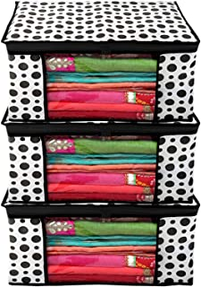 Kuber Industries Polka Dots Design 3 Piece Non Woven Fabric Saree Cover/Clothes Organiser for Wardrobe Set with Transparen...