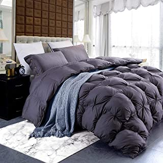 Luxurious Gray Goose Down Feather Comforter Duvet Insert, Classic Pinch Pleat Style, 750+ Fill Power, 70 Fill Weight, 1200...