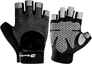 ABOOFAN 1 Pair Nonslip Gloves Shockproof Breathable Sports Gloves Riding Half Finger Gloves for Outdoor Men Women (Black, ...