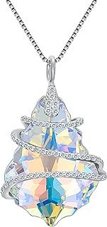 925 Sterling Silver CZ Baroque Pendant Adjustable Necklace Adorned with Swarovski Crystals