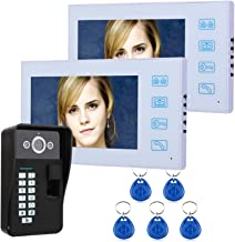 Videodeurtelefoon, intercom, 7-inch bedrade videodeurbel, 2 lcd-monitoren + nachtzichtbeveiligingscamera, RFID-vingerafdru...