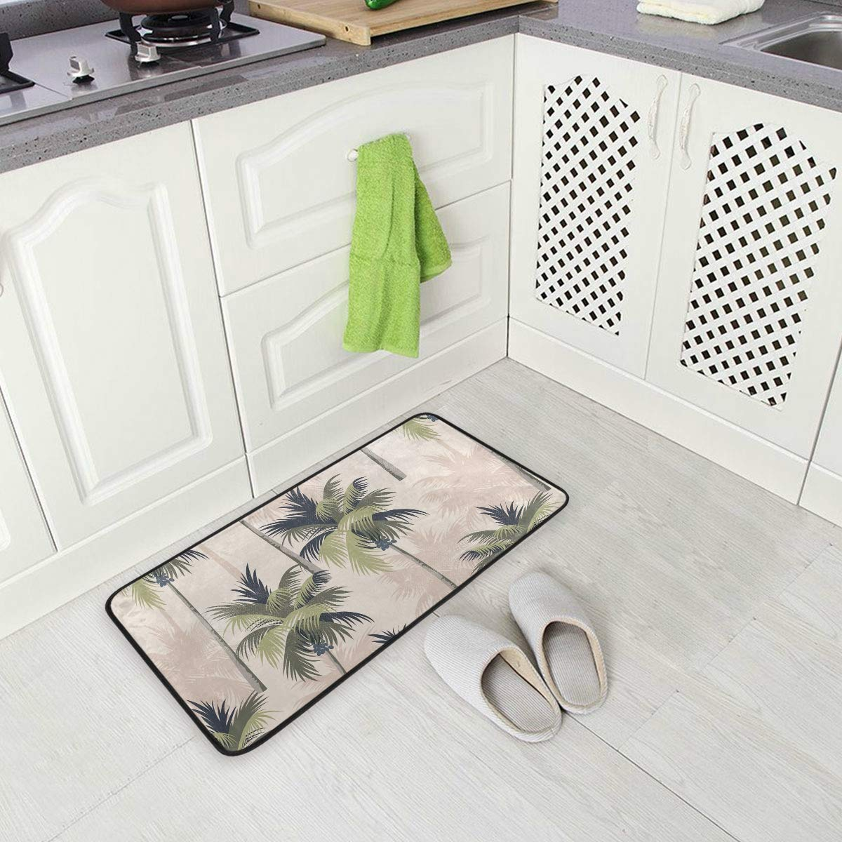 Amazon Com Kitchen Rugs Runner Vintage Tropical Palm Trees Comfort Floor Mat Bath Mats Bed Desk Bathroom Area Rug Long Doormat Carpet Home Hotel Kitchen Dining