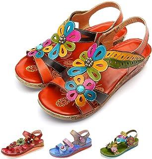 0d8eba9d4a2bc4 Gracosy Sandales Cuir Femmes, Chaussures de Ville Été Compensées à Talons  Compensés Plateforme Plates avec