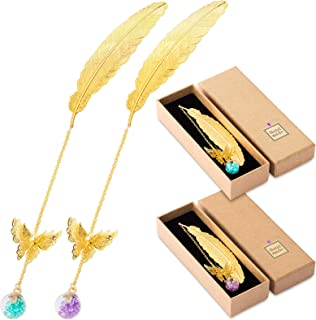 Whaline 2 Pack Metal Feather Bookmark with 3D Butterfly and Glass Beads Dry Flower Pendant Metal Diamond Bookmark Bookend ...