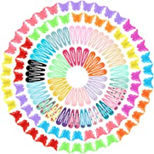 Anezus 100 Pcs Barrettes Snap Hair Clips with 100 Pcs Small Butterfly Hair Clips for Women Hair Accessories