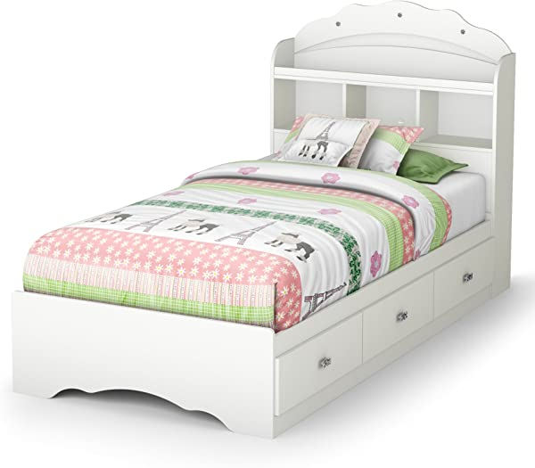 South Shore 39 In Twin Mates Bed With Bookcase Headboard In Pure White