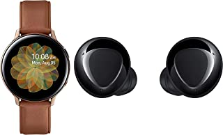 Samsung Galaxy Watch Active 2 (Bluetooth + LTE, 44 mm) - Gold, Steel Dial, Leather Straps with Buds+