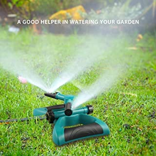 Lawn Sprinkler, Automatic 360 Rotating Adjustable Kids Sprinkler Lawn Irrigation System Covering Large Area with Leak Free Design Durable 3 Arm Sprayer, Summer Outdoor Game Waterpark Toys Accessories