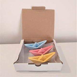 3 mini barche a vela stile origami, Yumilab, resina ceramica ecologica, matrimonio, evento, decorazione marina, barca.
