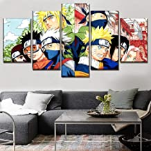 Wall Art Decor Modular Picture Framework 5 Panel Anime Naruto Character Poster Canvas Printed Painting Modern Artwork,A,40...