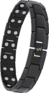 Elegant Men's Double Magnet Wide Titanium Magnetic Therapy Bracelet Pain Relief for Arthritis and Carpal Tunnel (Black)
