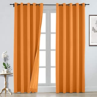 CosyPages Grommet Luxury Linen Polyester Curtain Lined Blackout Curtains for Traverse Rod and Track 84W x 84L(1 Panel) Orange