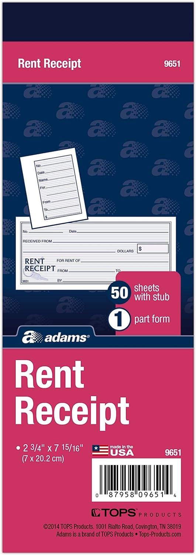 Adams Rent Receipt Buch, 1-teilig mit abreißbarer Abriss, 2–3 4 x 7–15 40,6 cm, 50 Quittungen pro Buch (9651abf) B004W7WR0I   Online-Exportgeschäft