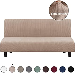 Turquoize Sofa Covers Futon Slipcovers for Furniture Sofa, Khaki Spandex Slipcover/Lounge Cover, Stretch Anti-Wrinkle Slip Resistant Form Fit Slipcover 3 Seater Futon Cover (Futon, Khaki)